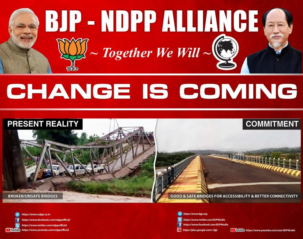A poster showing BJP-NDPP alliance in Nagaland. Credit: Twitter