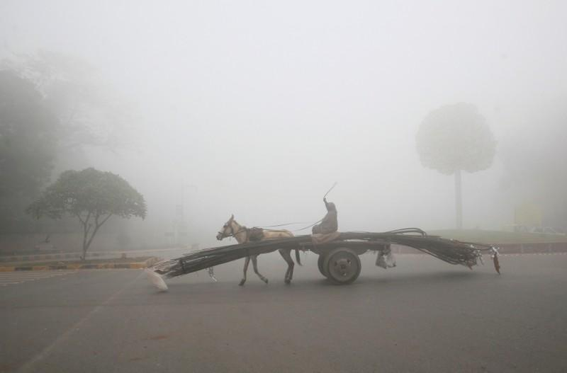 A man rides a donkey-drawn cart supplying steel rods on a smoggy morning in Lahore, Pakistan November 10, 2017. Credit: Reuters/Mohsin Raza