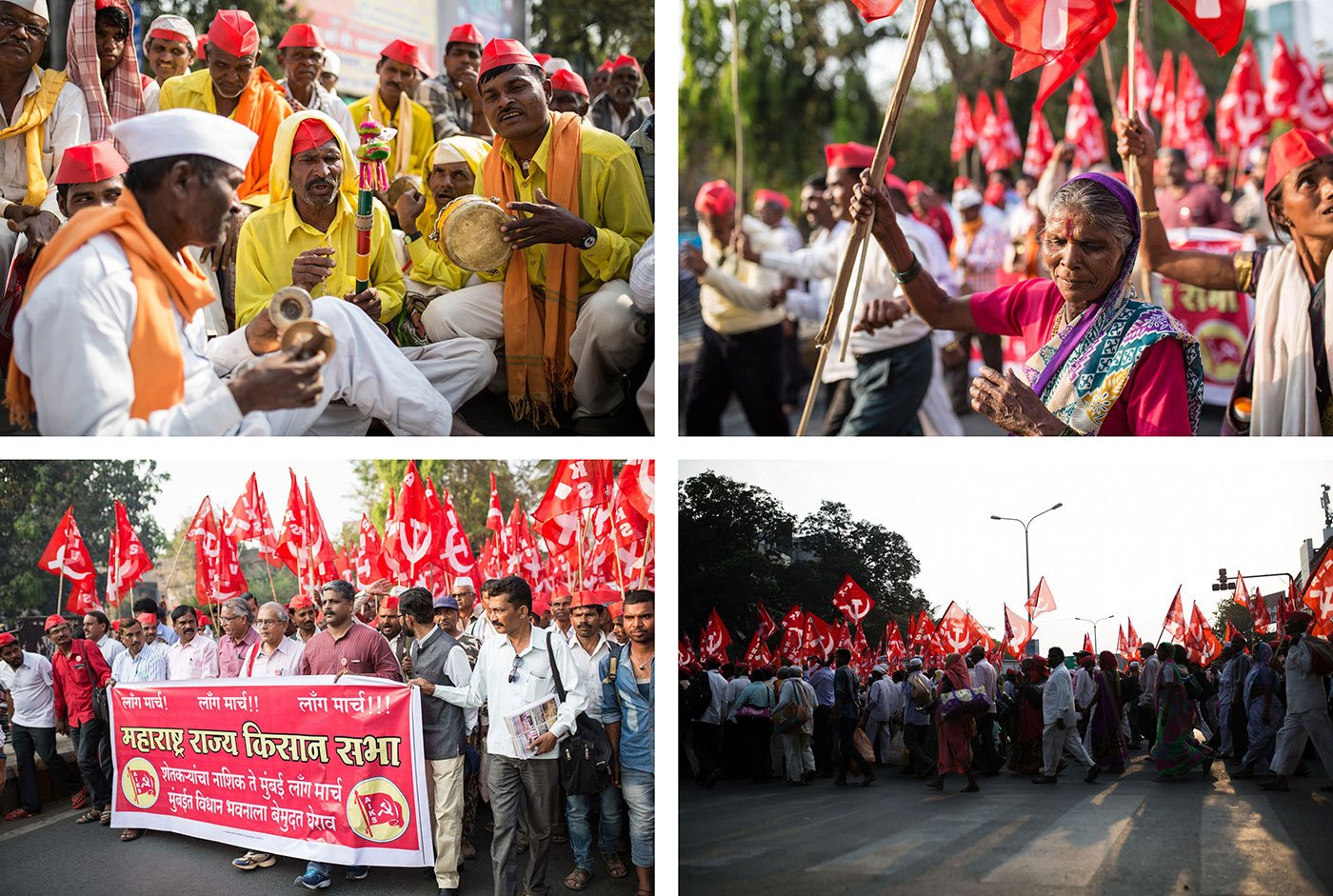 Top left: Farmers from Adivasi communities sing a devotional song. Top right: Rukmabai Bendkule, 60, at the forefront of the march, dances with a red flag in hand. Bottom: Thousands of farmers on the move with flags and banners. Credit: Parth M.N./People's Archive of Rural India