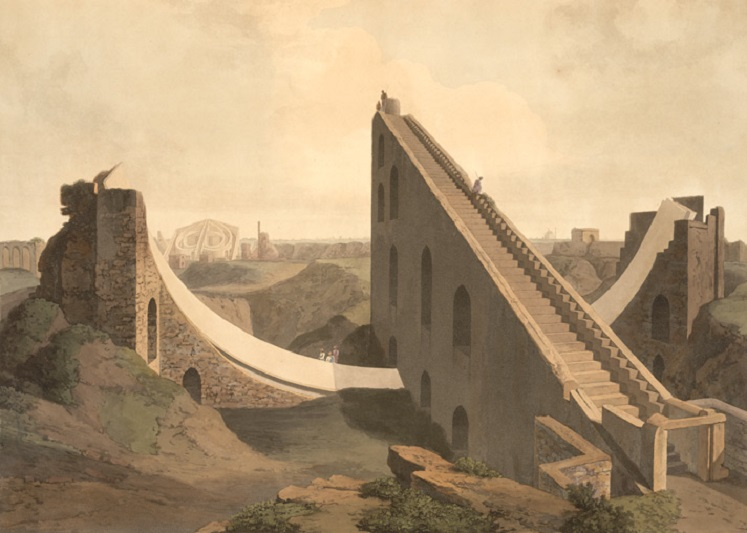 Jantar Mantar in Delhi. A painting by Thomas and William Daniells, 1808. Credit: Wikimedia Commons