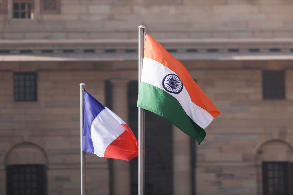 Indian and French flags. Credit: Emmanuel Macron/Twitter