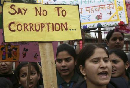 Schoolchildren protest against corruption. Credit: Reuters/Files