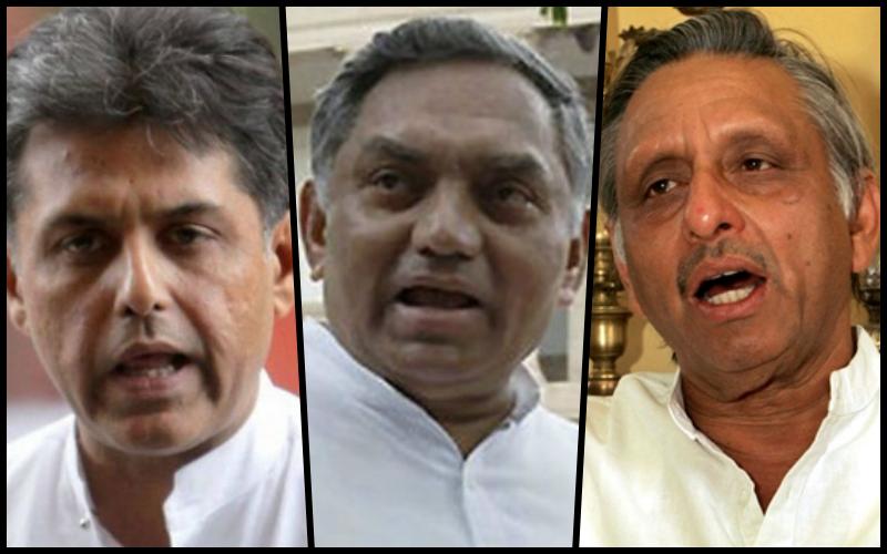 Manish Tiwari, Janardan Dwivedi and Mani Shankar Aiyar. Credit: PTI/Reuters