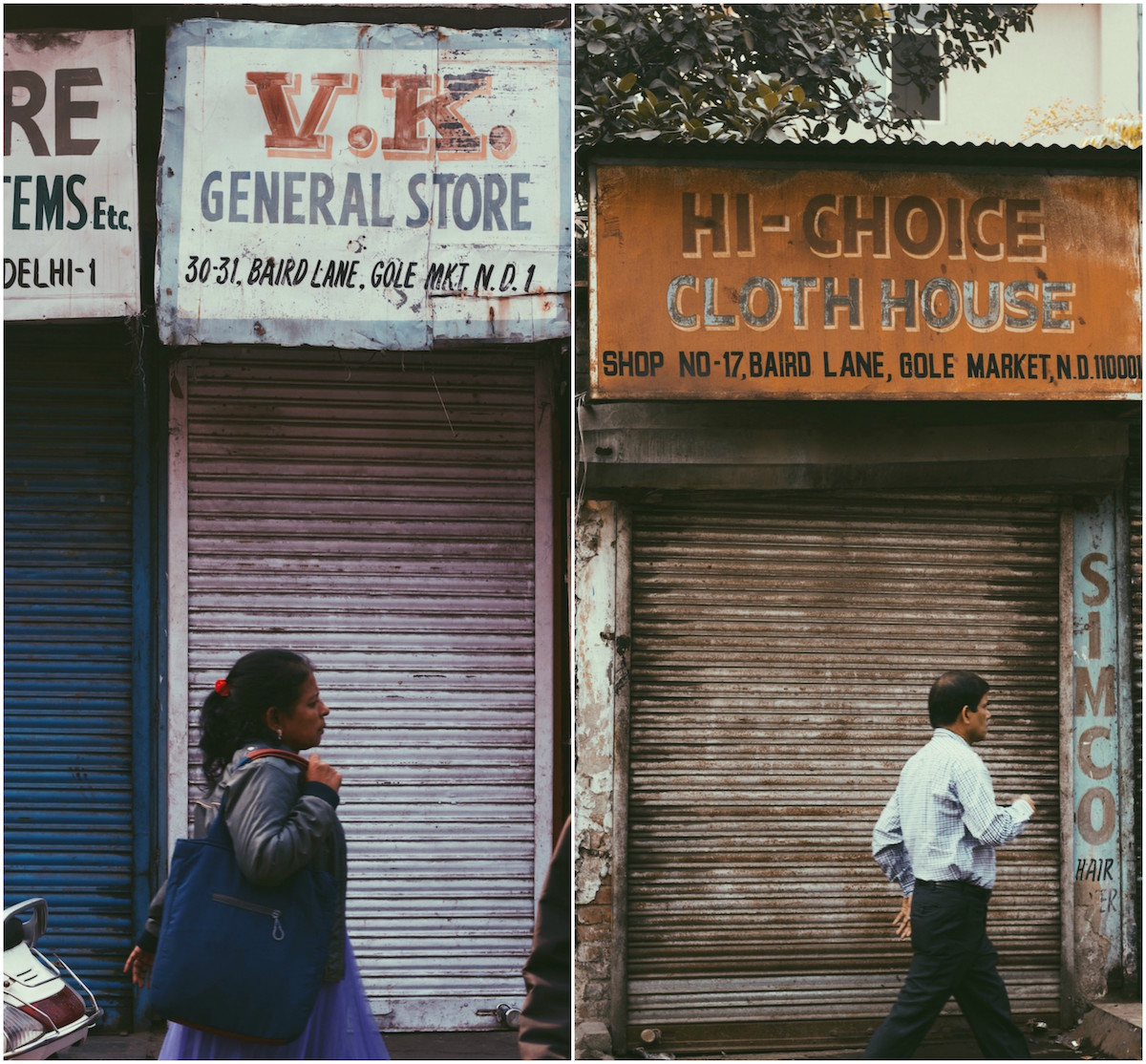 """The lettering featured in this sign, """"V.K."""" is an example of a type of handpainted lettering referred to as the 3D extrude. (Left) A man passes by a severely worn out signboard in Baird Lane, Gole Market on a Saturday Morning. The painter here has used white paint to create a slight shadow for each letter, it also makes the letters look raised. (Right)"""