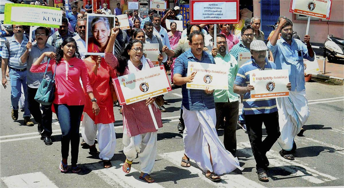 A protest march in Kerala against the murder of Gauri Lankesh. Credit: PTI