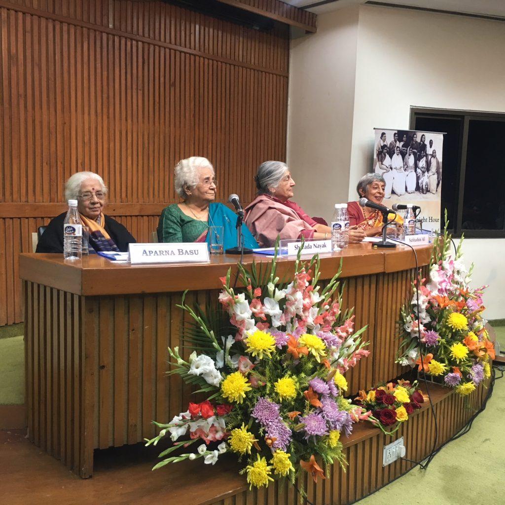 From left: Aparna Basu, Sharada Nayak, Subhashini Ali and Malavika Karlekar at the CWDS 2018 calendar launch at the India International Centre Annexe. Credit: Amanat Khullar/ The Wire