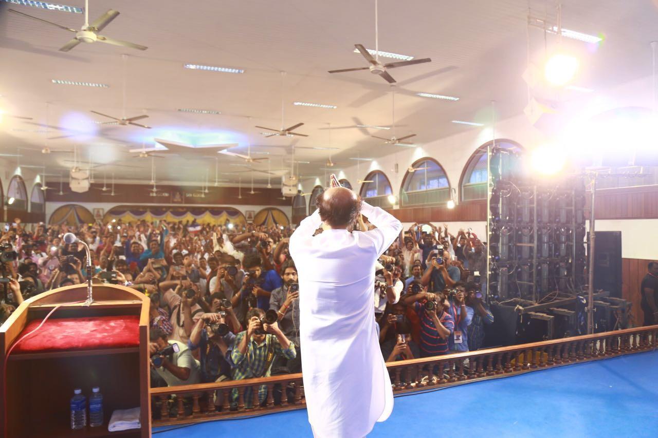 Rajinikanth greeting the audience. Credit: Rajinikanth's office