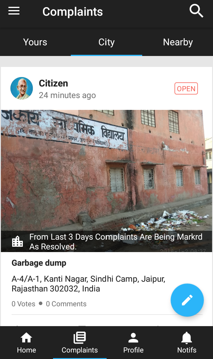 A complaint posted on the Swachhata app. Credit: Shruti Jain