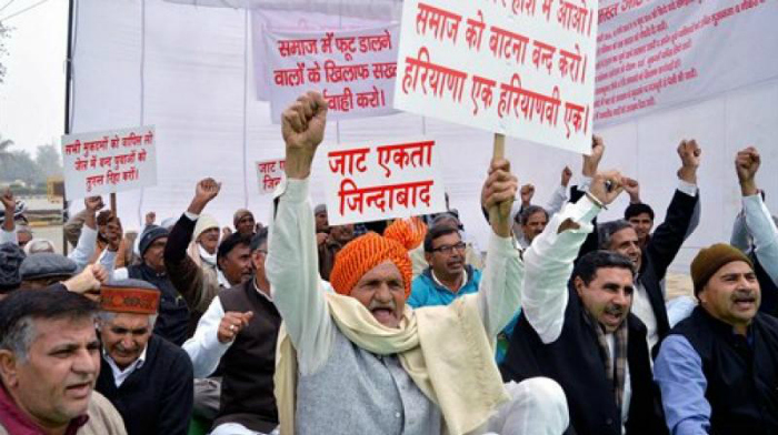 Jat community members stage a protest. Credit: PTI
