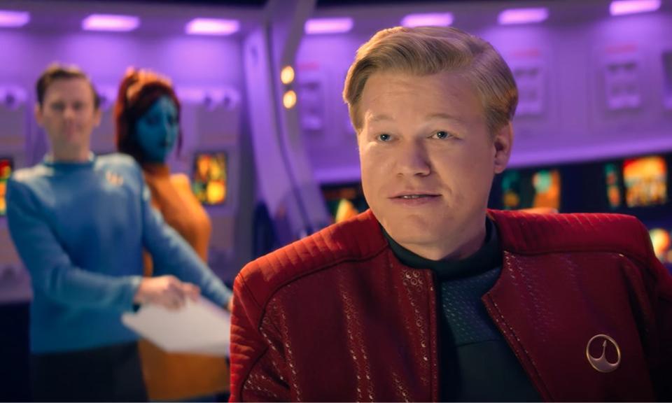 Robert Daly (Jesse Plemons) in his Star Trek-like virtual world. Credit: Netflix