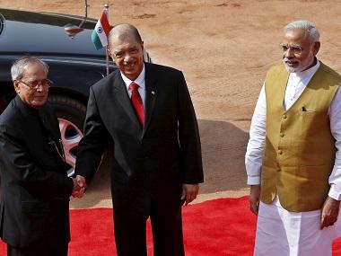 Former Seychelles' president James Michel with former president Pranab Mukherjee and Prime Minister Narendra Modi. Credit: Reuters
