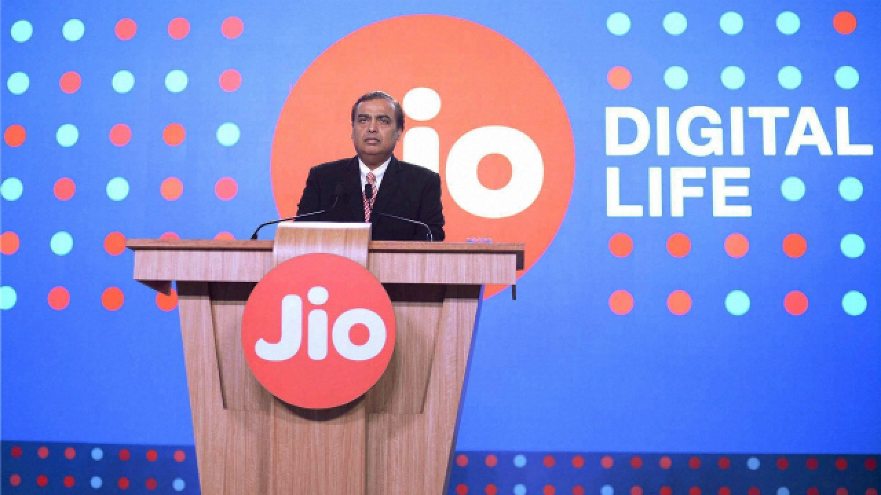 Mukesh Ambani at a Reliance Jio event. Credit: PTI/Files