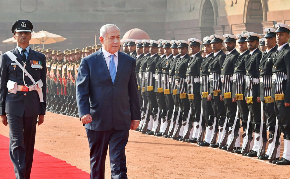 Netanyahu received a ceremonial reception at the Rashtrapati Bhavan. Credit: PTI
