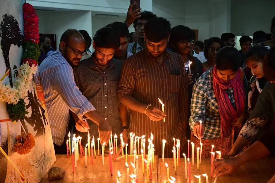 At the University of Hyderabad on Wednesday. Credit: Justice for Rohith Vemula campaign