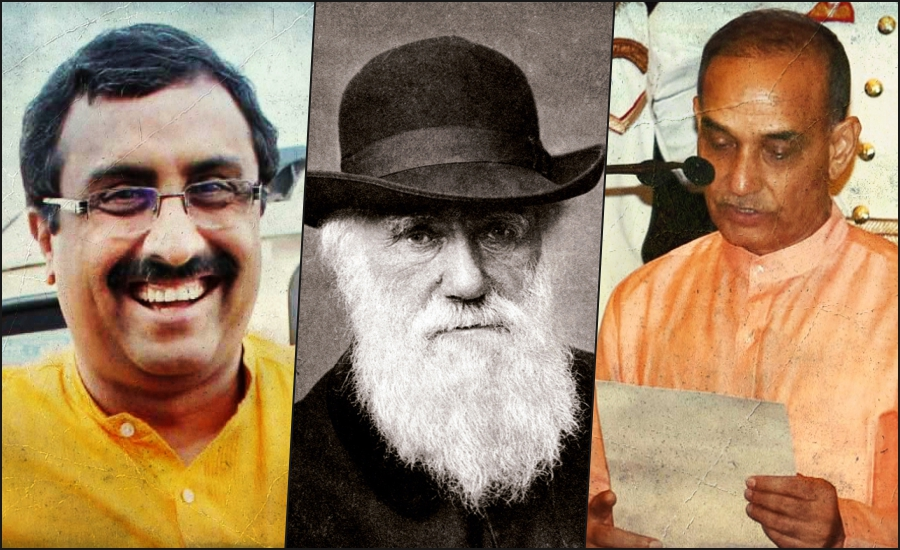 From left to right: Ram Madhav (Credit: PTI), Charles Darwin (Credit: Wikipedia Commons) and Satyapal Singh (Credit: PTI).