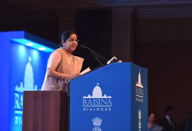 Sushma Swaraj at the Raisina Dialogue. Credit: Twitter/@orfonline