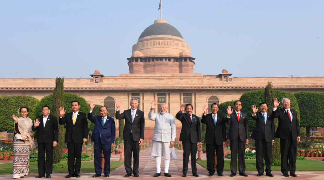 Prime Minister Narendra Modi with leaders of ASEAN countries in Delhi. Credit: PIB