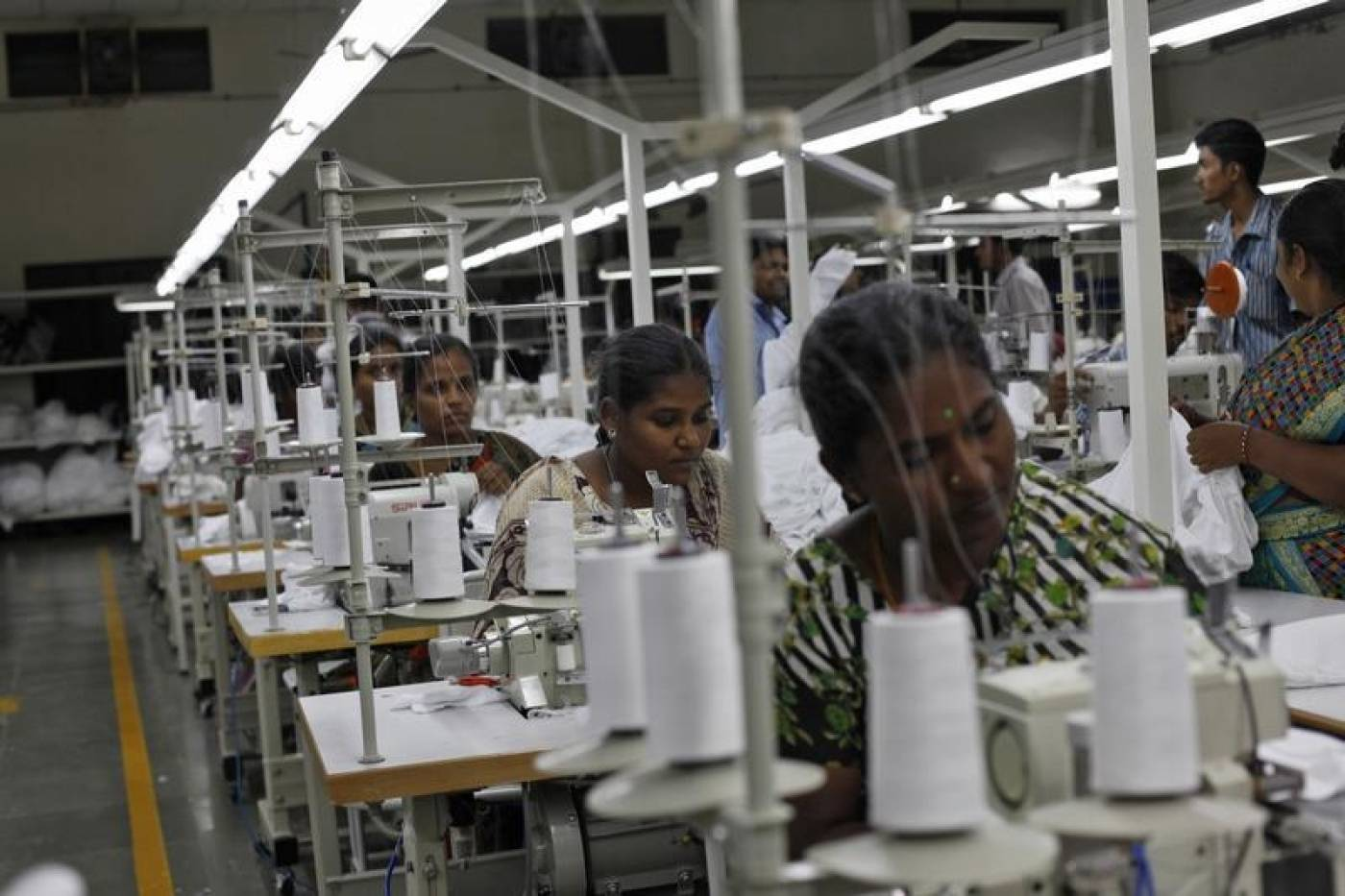 Representative image of garment industry workers in Bengaluru. Credit: Reuters