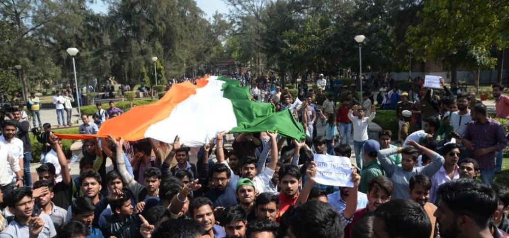 ABVP's tiranga march in Delhi University. Credit: YouTube