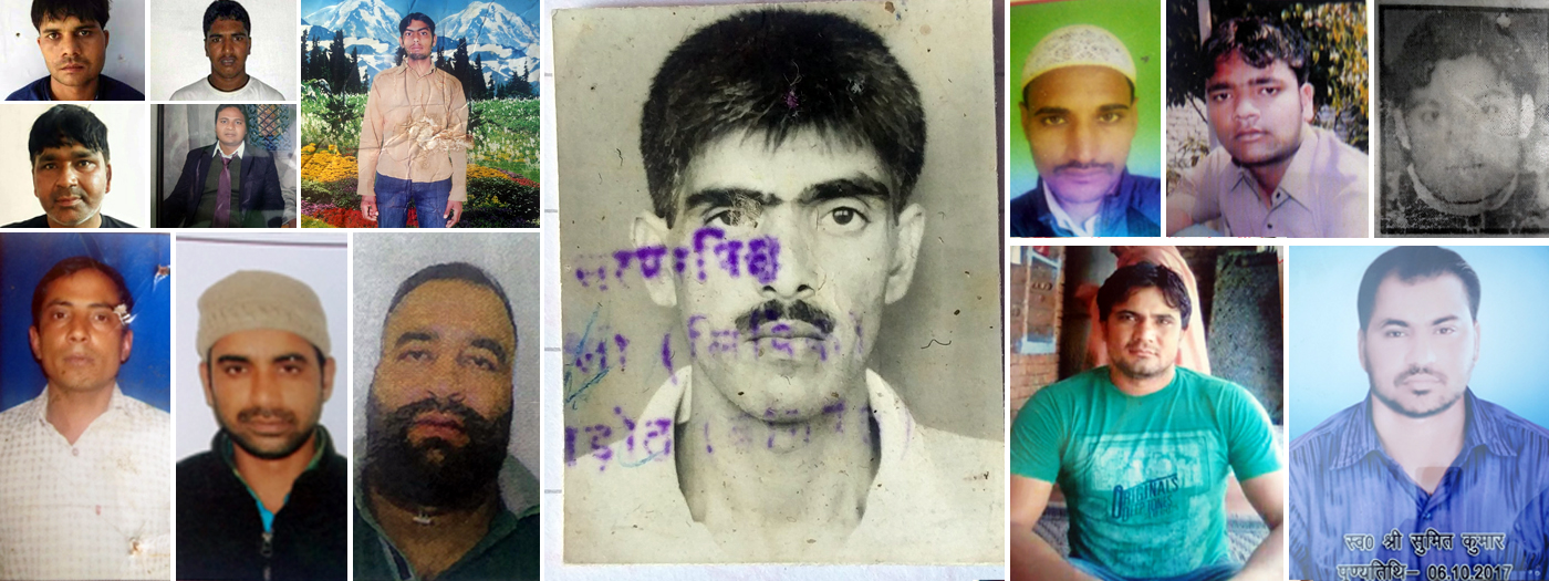 Collage of victims of police encounters in Uttar Pradesh.