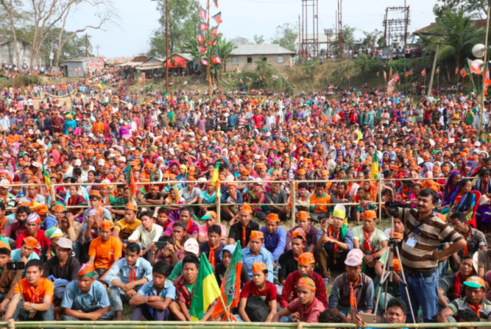 BJP supporters at rally in Tripura. Credit: Twitter/@Sunil_Deodhar