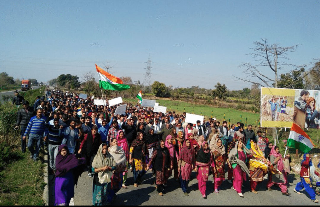 BJP Leader in Front, Hindu Ekta Manch Waves Tricolour in Support of Rape Accused in Jammu