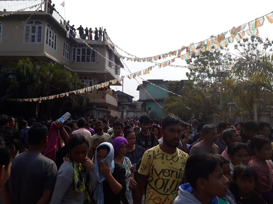 A rally in Williamnagar on February 19 against Sangma's killing. Credit: Special arrangement