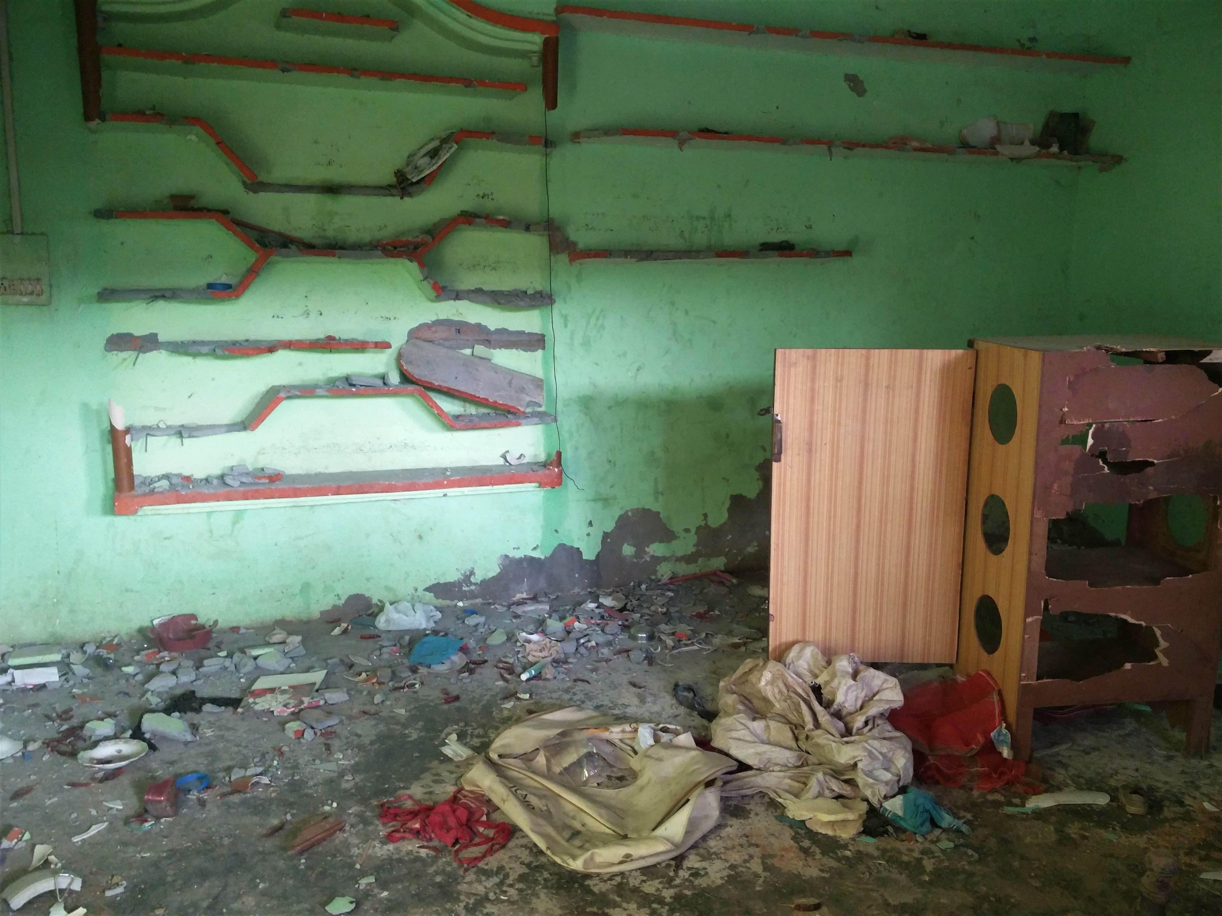 Sabir's vandalised house. Credit: Neha Dixit