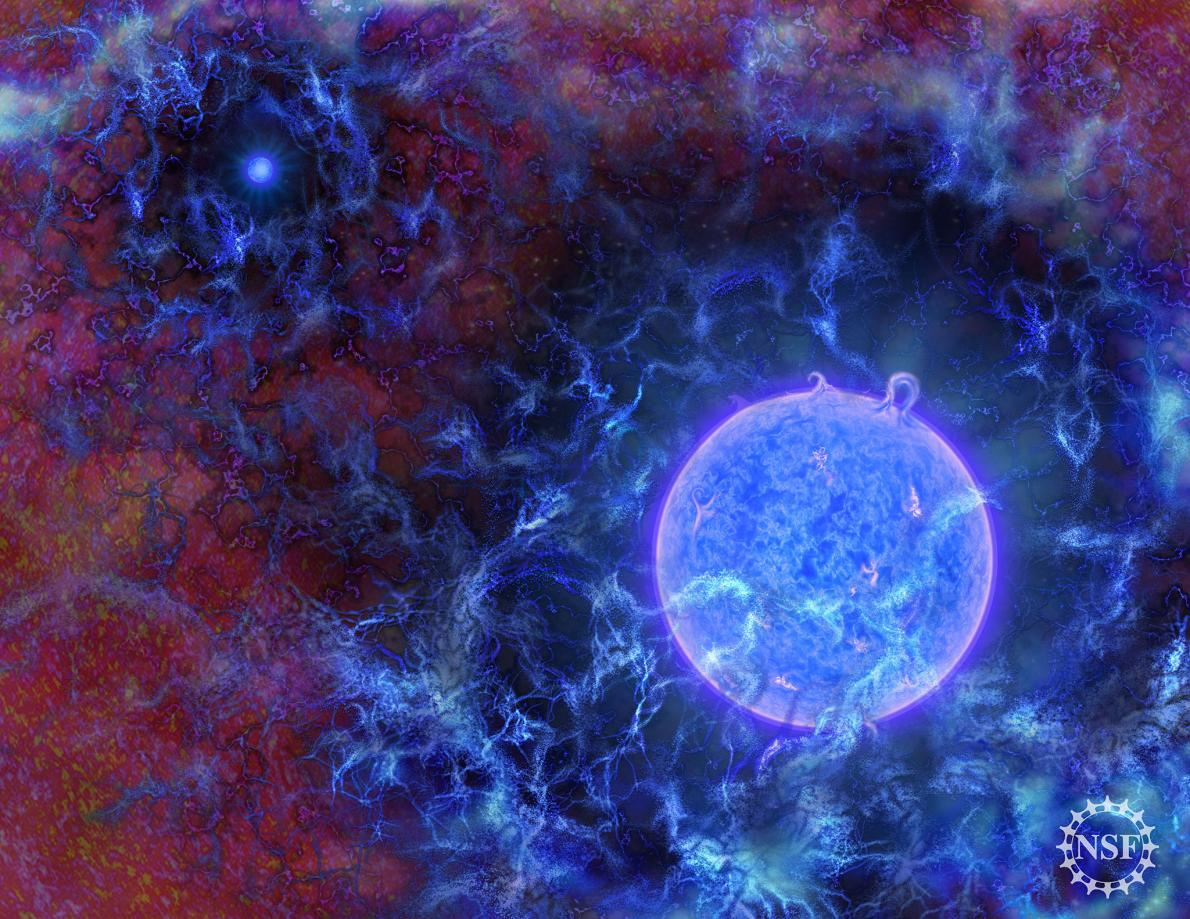 An artist's impression of the universe's first stars, embedded in a sea of gas, with the cosmic microwave background radiation depicted along the edges. Credit: N.R. Fuller, National Science Foundation