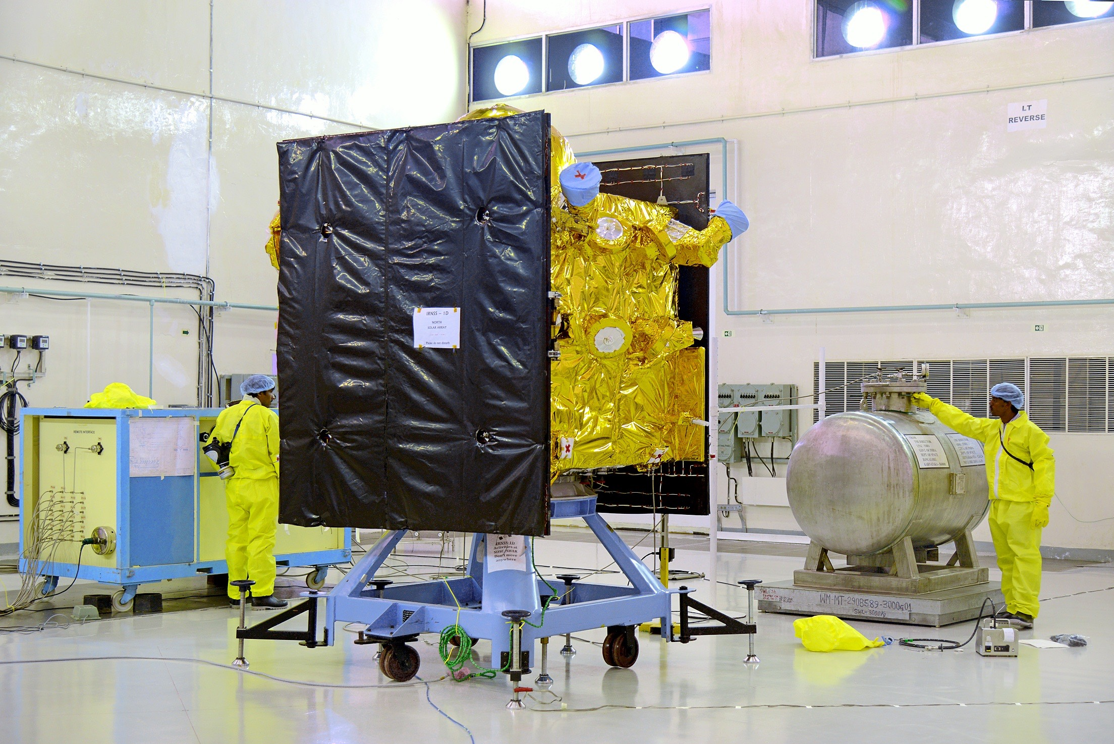 The propellant for the IRNSS 1D satellite being filled ahead of its launch in March 2015. Credit: ISRO