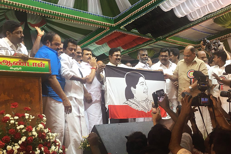 TTV Dhinakaran launches 'Amma Makkal Munnetra Kazhagam' with Jaya on flag
