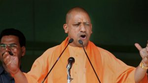 UP chief minister Adityanath addressing a rally ahead of Phulpur by-poll. Credit: PTI