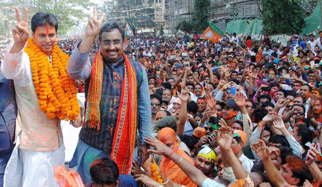 BJP National General Secretary Ram Madhav and Tripura BJP chief Biplab Kumar Deb celebrate the party's win in the Tripura assembly polls. Credit: PTI