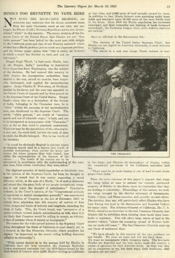 Article from March 10, 1923 issue of The Literary Digest describing the outcome of the 'United States vs. Bhagat Singh Thind' Supreme Court case, which barred South Asians from obtaining citizenship. Courtesy: SAADA