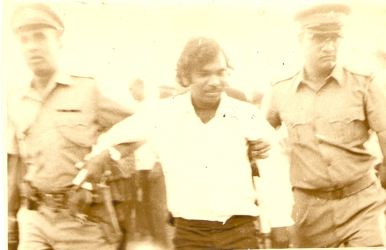 J.V. Pawar being arrested. Courtesy: J.V. Pawar