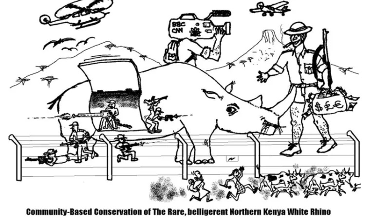 A satirical cartoon depicting the conservation of wildlife in Kenya. Credit: Mordecai Ogada
