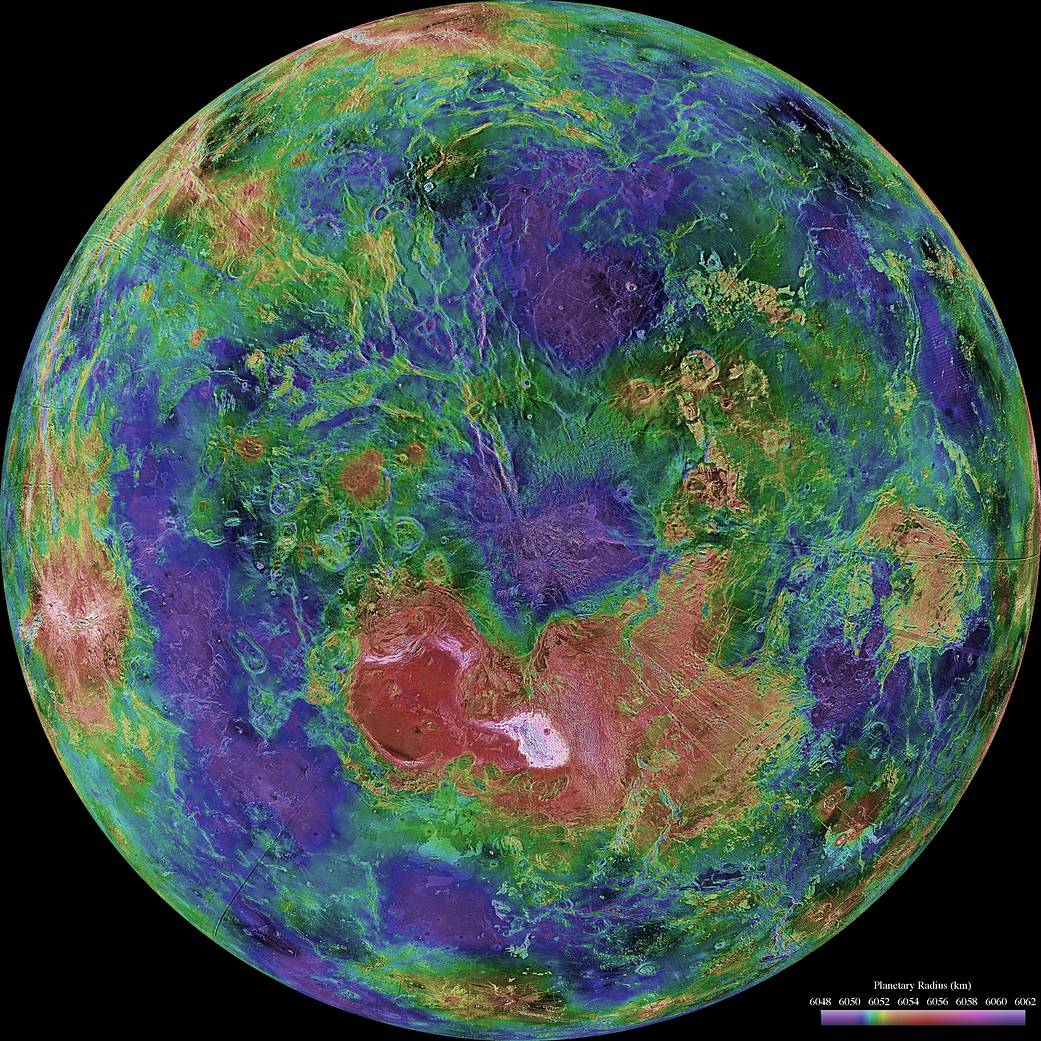 A view of the Venus reconstructed from radar images that Magellan took between 1990 and 1994. Credit: NASA/JPL/USGS