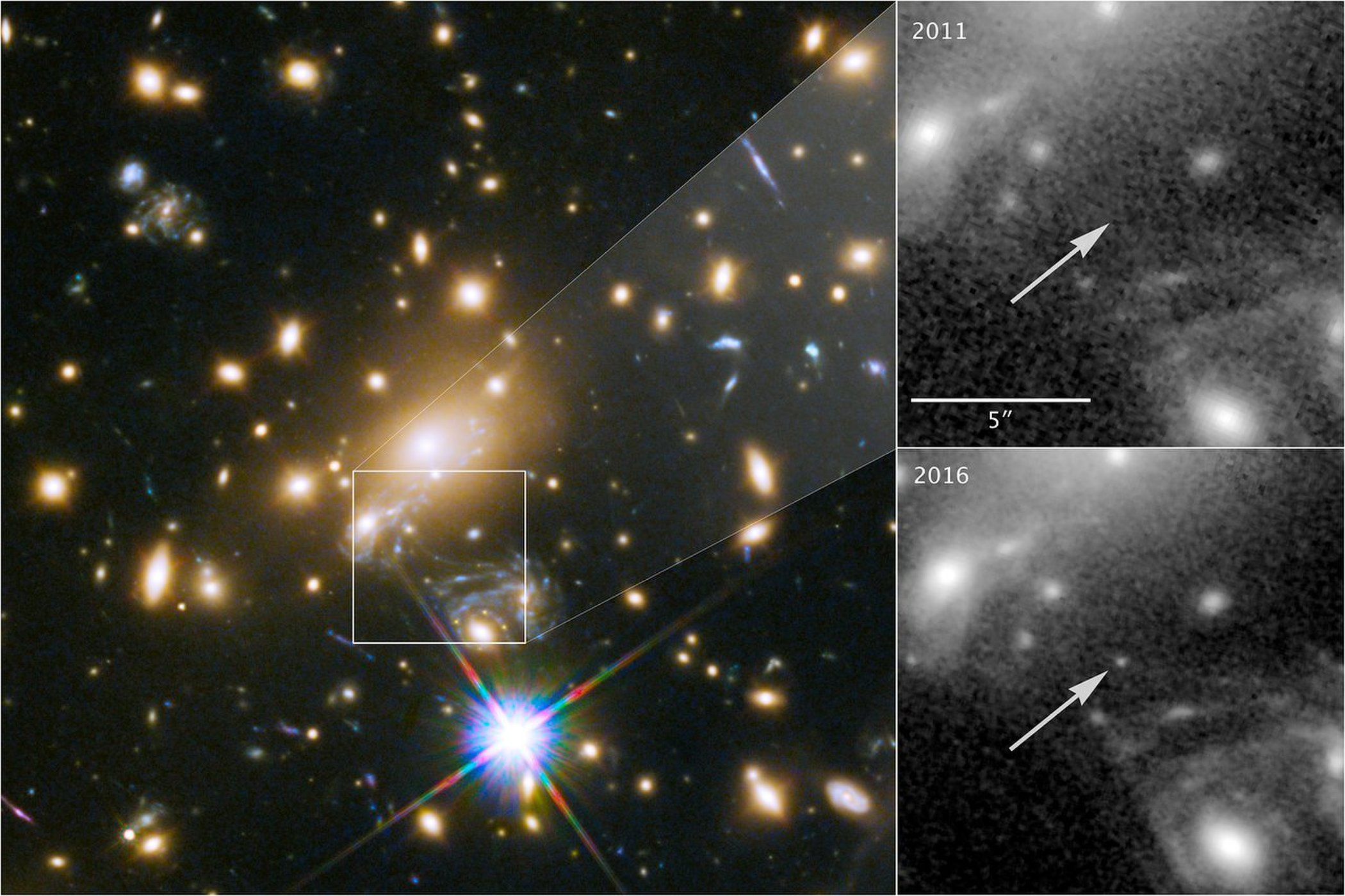 Composite image showing the discovery of the most distant known star, Icarus. Credit: NASA/ESA/P Kelly(University of Minnesota)