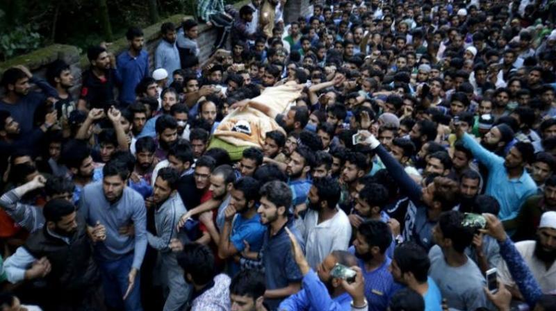 Crowds gathered at Burhan Wani's funeral. Credit: PTI/Files