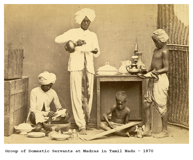 'Group of Domestic Servants at Madras in Tamil Nadu'. Credit: British Online Library