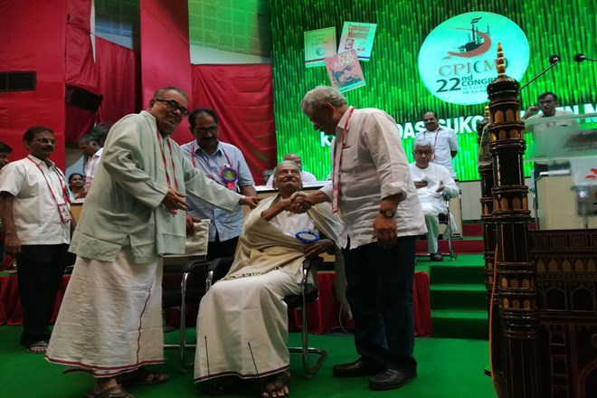 Veteran leaders being felicitated in CPI 's 22nd party congress being held in Hyderabad. Credit CPI Twitter