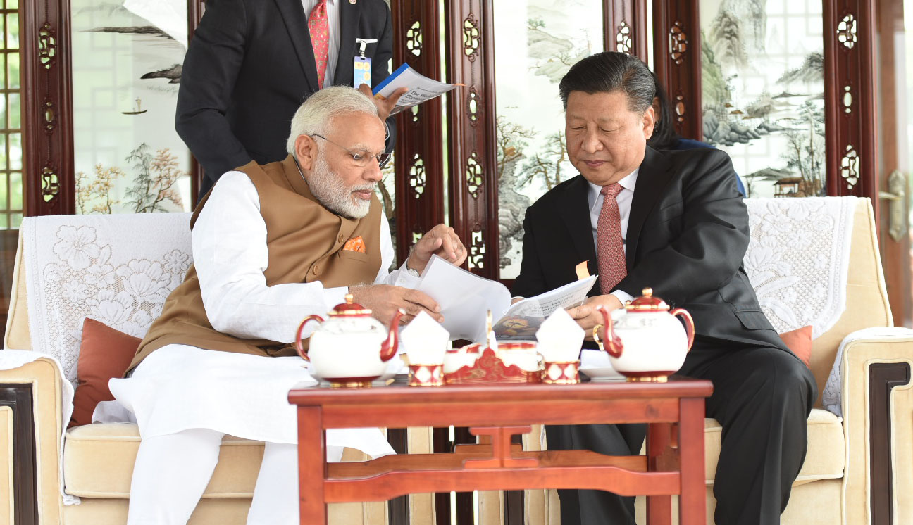 Indian Prime Minister Narendra Modi with Chinese President Xi Jinping in Wuhan. Credit: PIB