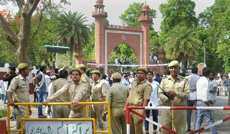 In the AMU incident, tear gas was used after the lathi charge. credit: PTI