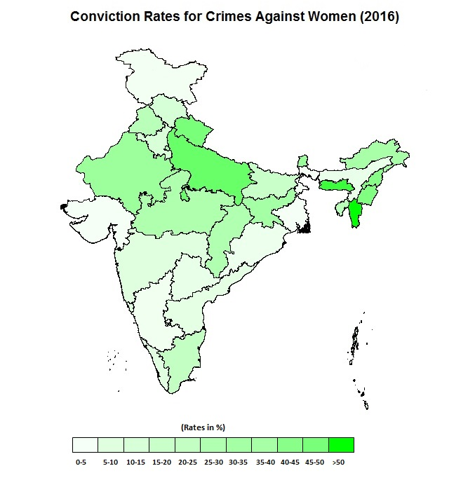 Heat map of conviction rates for crimes against women in India (2016). Source: NCRB