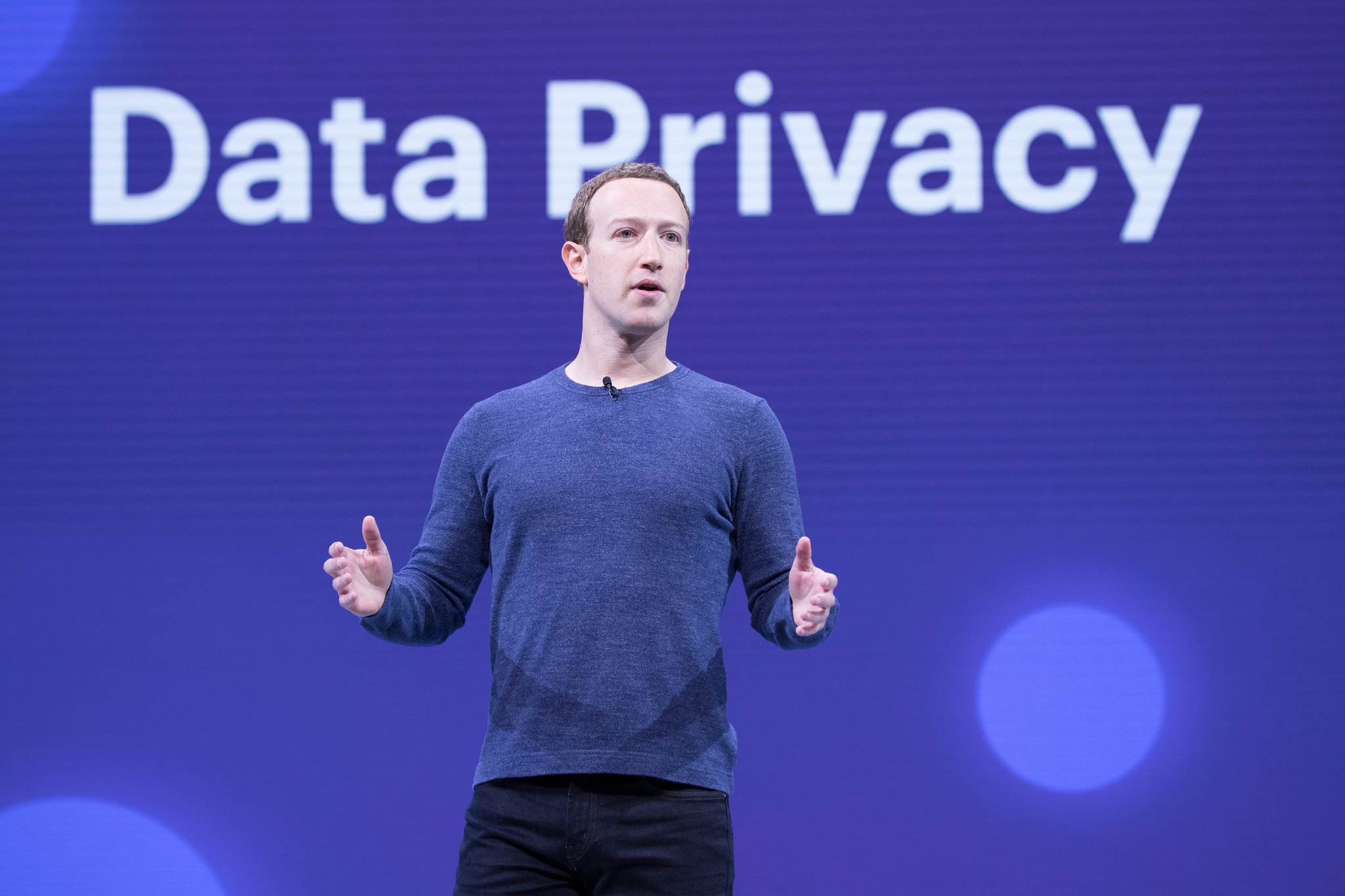 Facebook CEO Mark Zuckerberg speaks at the F8 event in 2018. Credit: quintanomedia/Flickr, CC BY 2.0