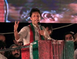 Opposition leader Imran Khan speaks to supporters during a celebration rally after the Supreme Court disqualified Prime Minister Nawaz Sharif in Islamabad
