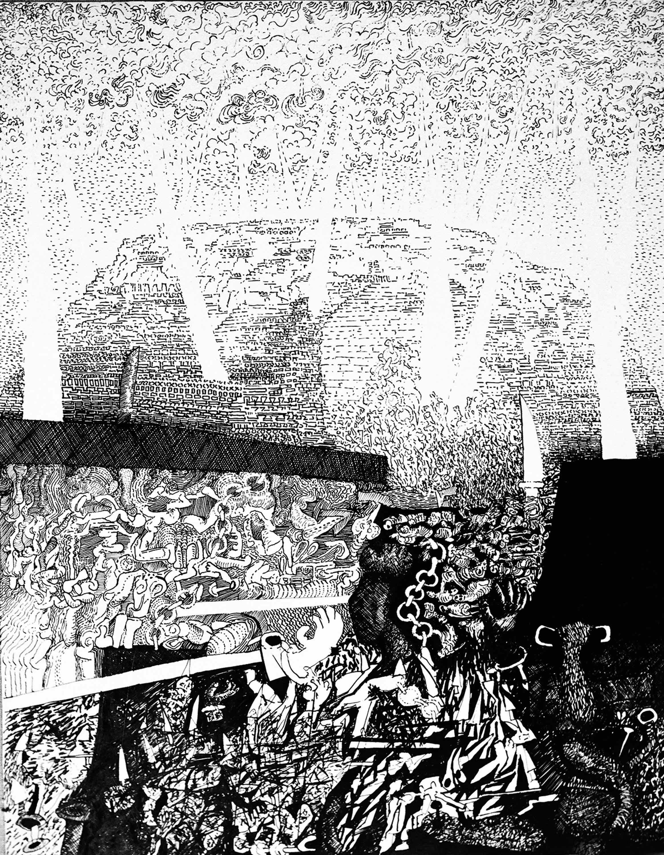 'Chain/LinK/Step/Knives', ink drawing from the Machu Picchu series (1972) by Vivan Sundaram. Courtesy: Vivan Sundaram
