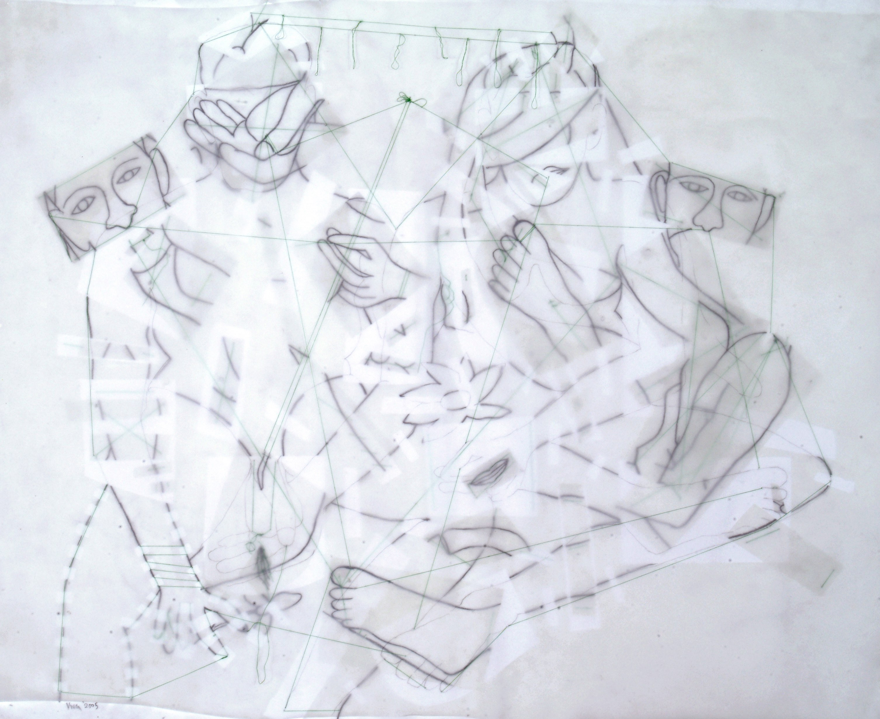 'Wedding anniversary' (2005) from the 'Bad drawings for dost' series; pencil, tracing paper, thread on paper; by Vivan Sundaram. Courtesy: Vivan Sundaram