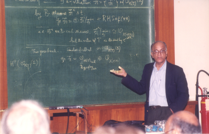 Lecturing at a conference in TIFR, Mumbai. Credit C.S. Seshadri