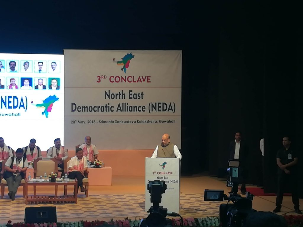 BJP president Amit Shah addresses the NEDA conclave in Guwahat. Credit: Makepeace Stilthou